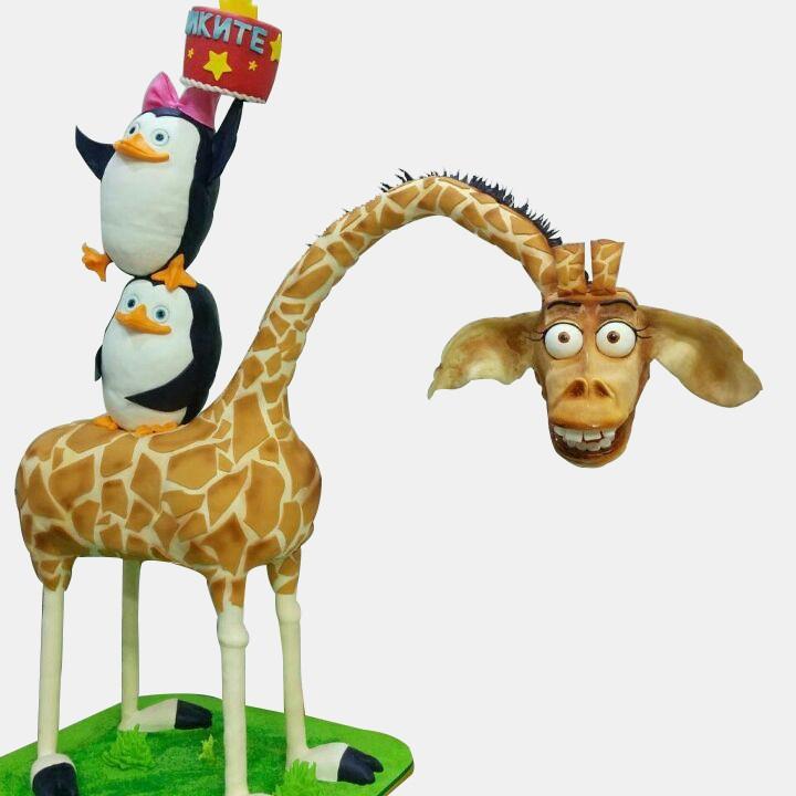 №1810 Шоу торт Пингвины Мадагаскара