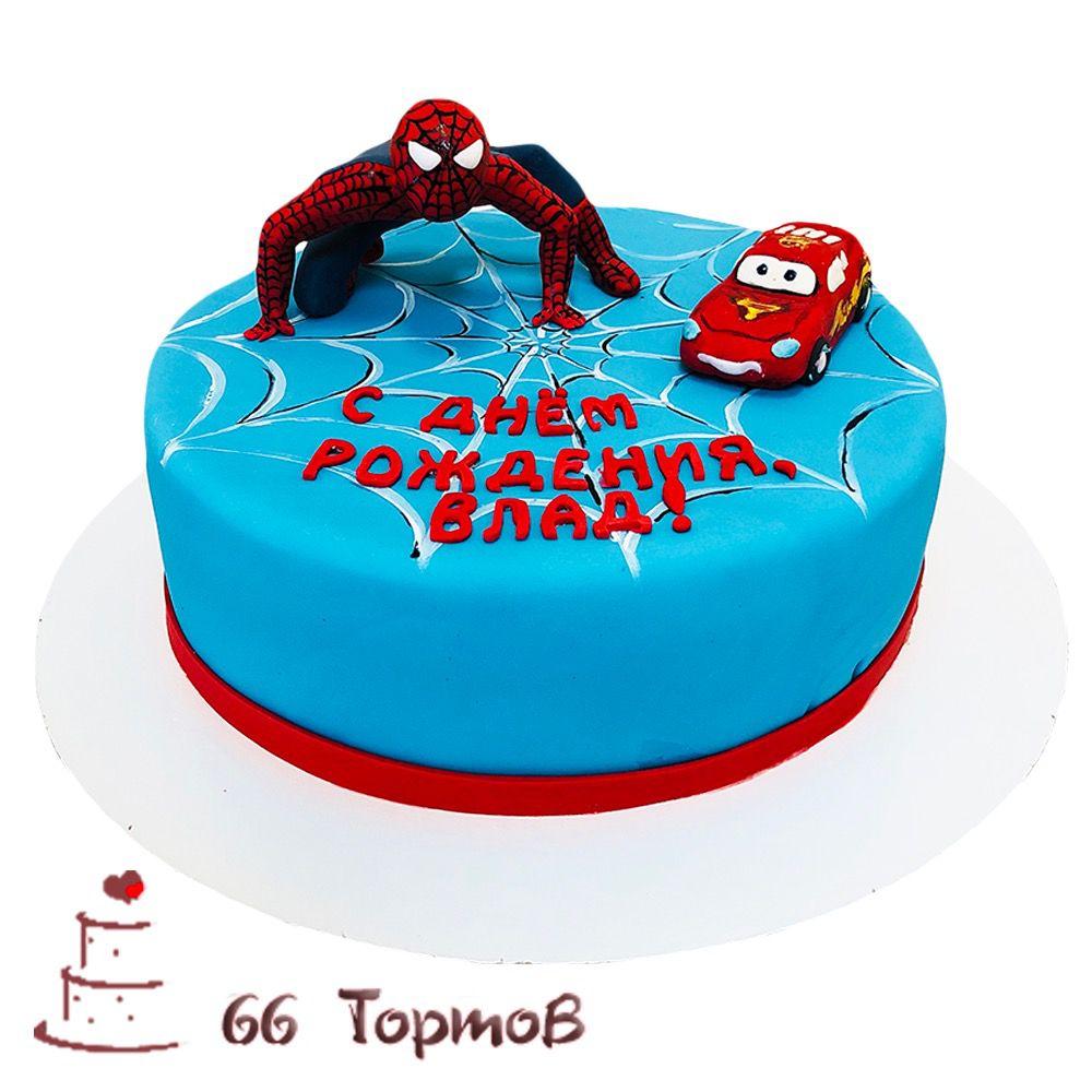 №260 Торт человек паук и молния маквин